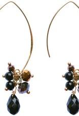Jen Clustered Crystal Earrings, Black