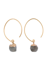 Chic Brass and Stone Earrings, Jasper