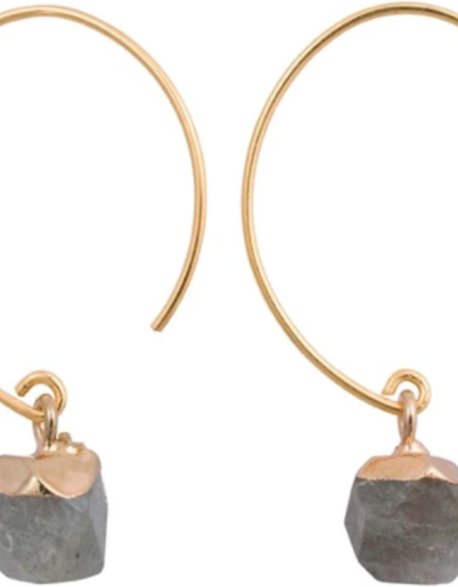 Chic Brass and Stone Earrings, Jasper