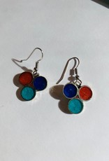 Alpaca Silver Vivid Resin Earrings- Dots