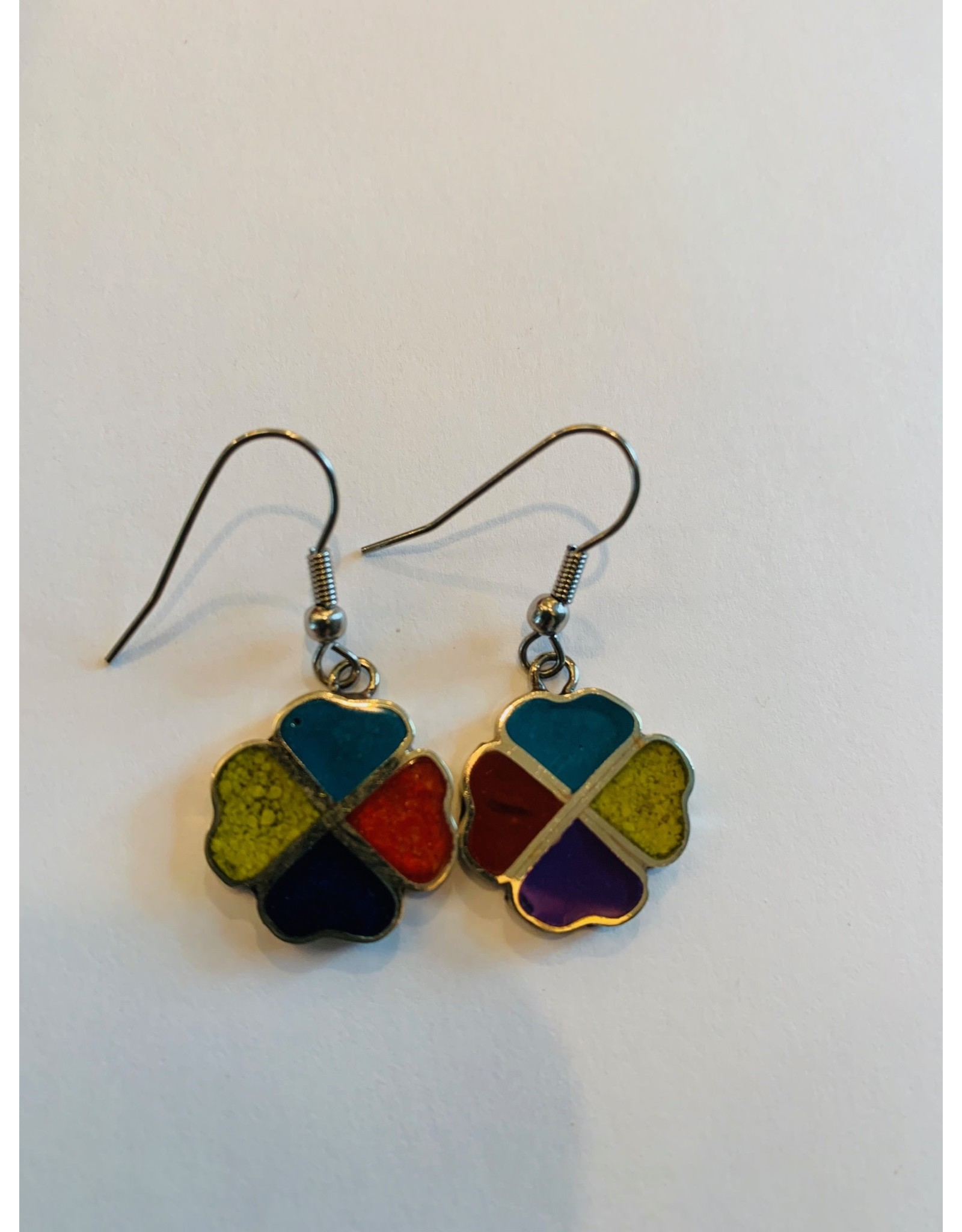 Alpaca Silver Resin Vivid Resin Earrings- Shamrock, Multicolor