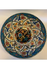 "10"" Hand Painted Relief Ceramic Bowl, Blue"