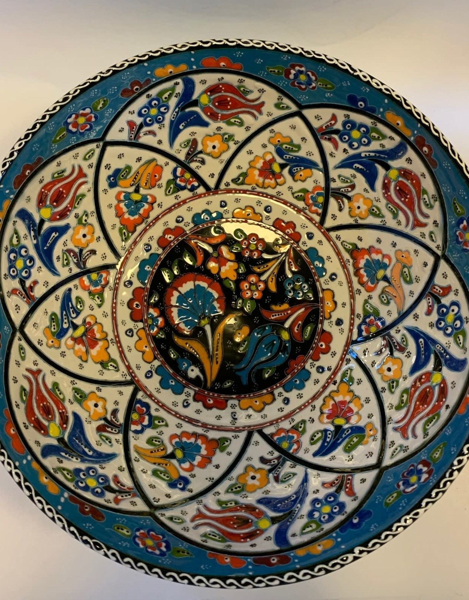 """10"""" Hand Painted Relief Ceramic Bowl, Blue"""