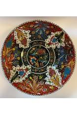 """10"""" Hand Painted Relief Ceramic Bowl, Orange"""