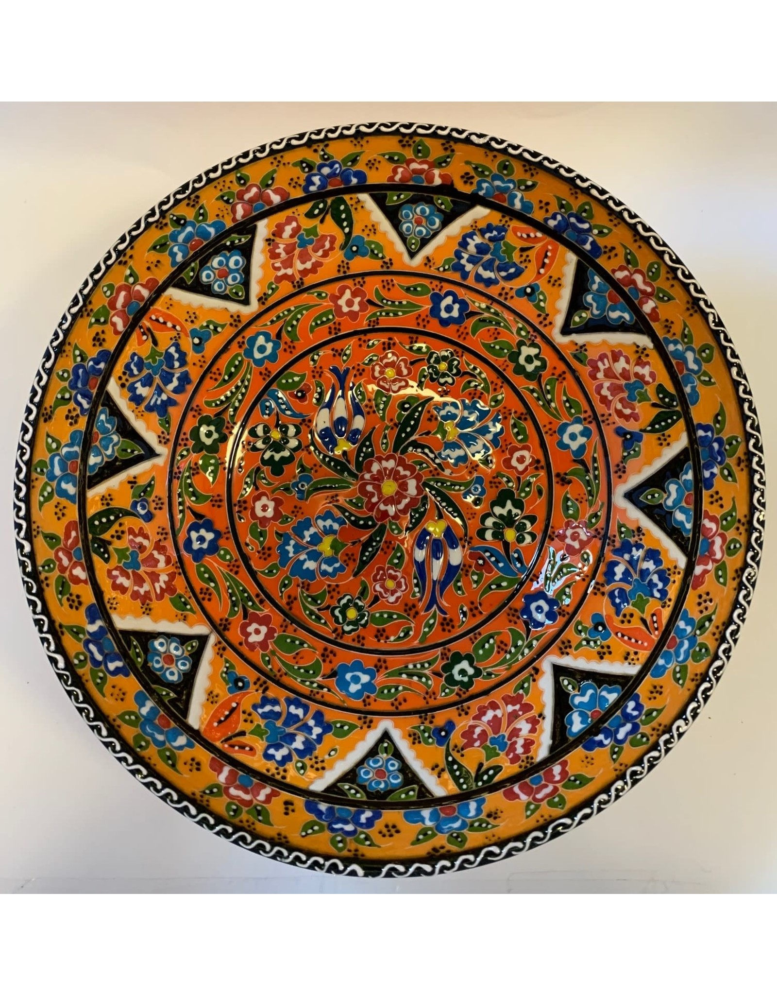"10"" Hand Painted Relief Ceramic Bowl, Yellow"