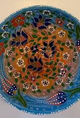 """6"""" Hand Painted  Relief Ceramic Bowl, Blue/Orange"""