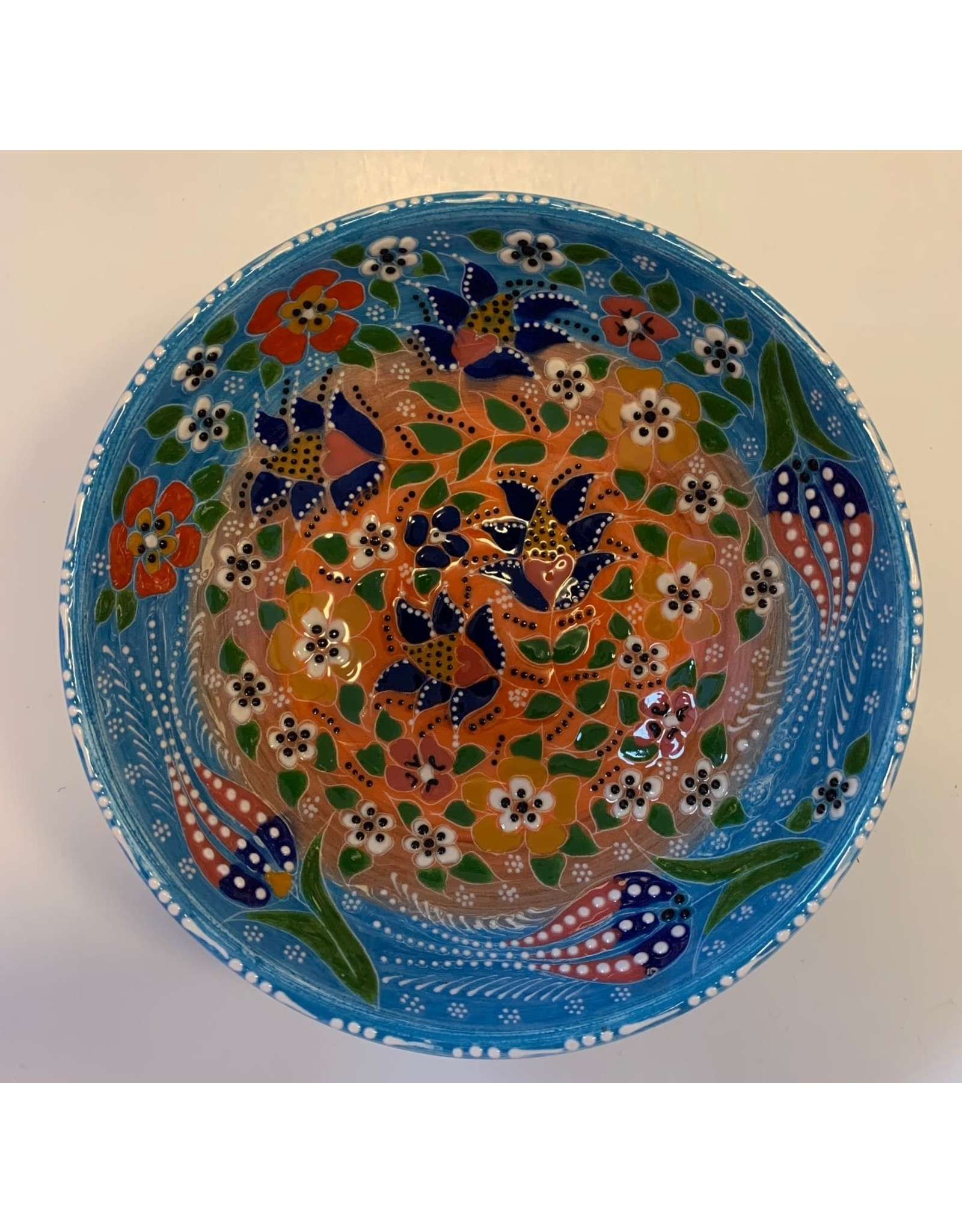 "6"" Hand Painted  Relief Ceramic Bowl, Blue/Orange"
