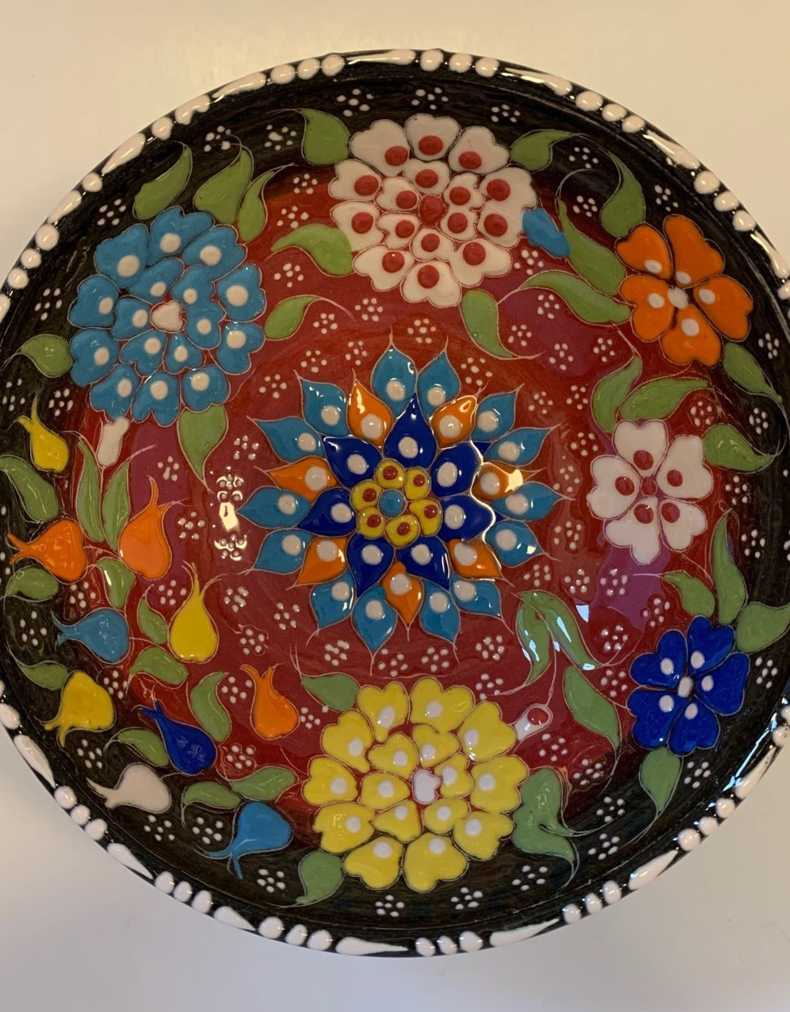 """6"""" Hand Painted Relief Ceramic Bowl, Black/Red"""