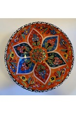 "6""  Hand Painted Relief Ceramic Bowl, Orange"