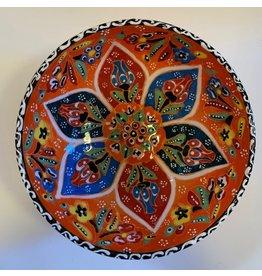 """6""""  Hand Painted Relief Ceramic Bowl, Orange"""