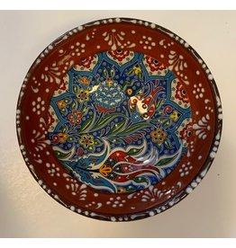 "5"" Hand Painted Ceramic Bowl,  Burgundy Tones"