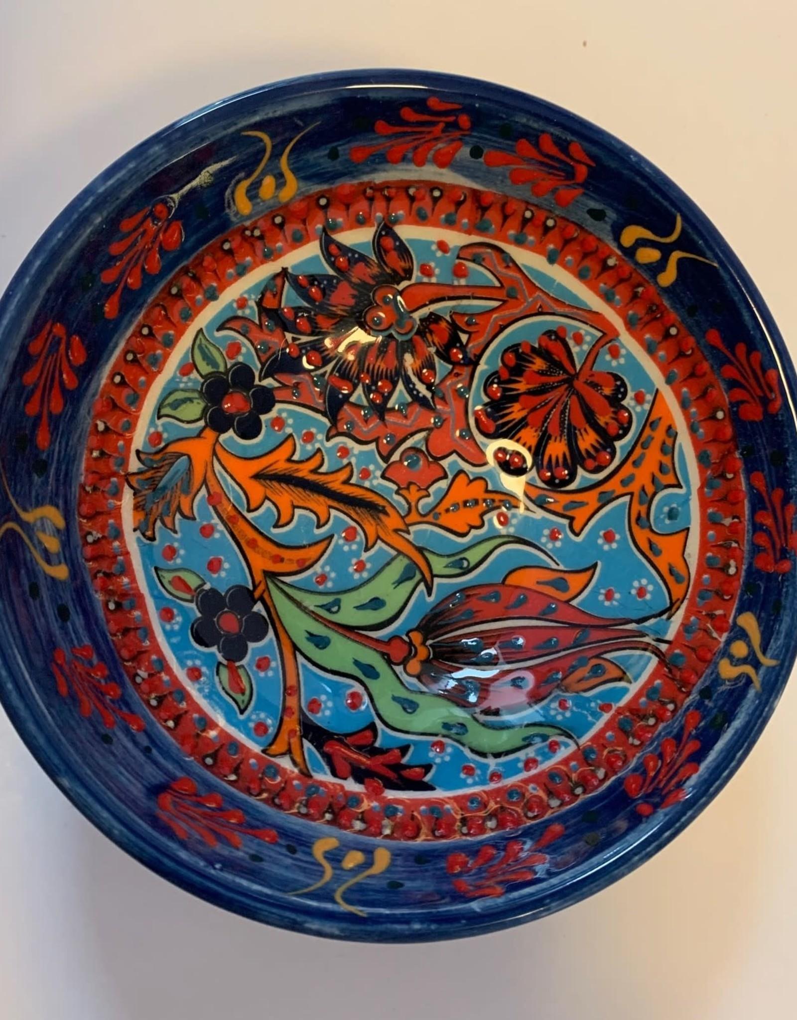 """5"""" Hand Painted Ceramic Bowl, Blue Tones"""