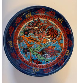 "5"" Hand Painted Ceramic Bowl, Blue Tones"
