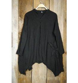Cotton Button Front Tunic, Black, L/XL,  Thailand