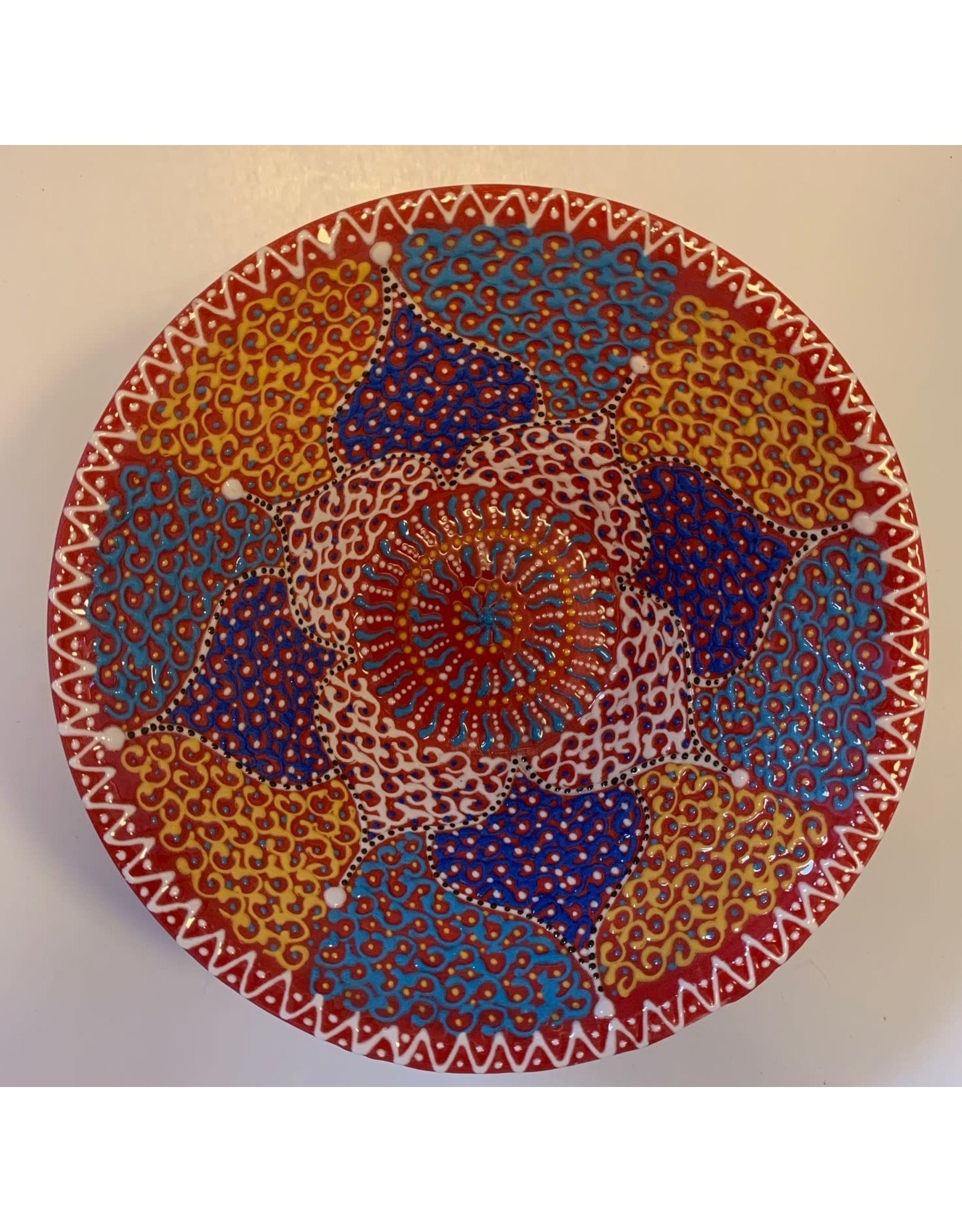 """6"""" Hand Painted Lace V Ceramic Bowl, Red"""