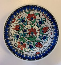 "6"" Hand Painted Lace V Ceramic Bowl, Blue Floral"
