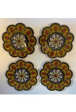 Hand Painted Ceramic Coasters,  Set of 4, Yellow