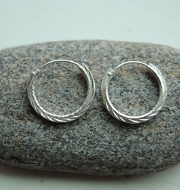 Sterling Hoops w/ Decoration, 1.5cm