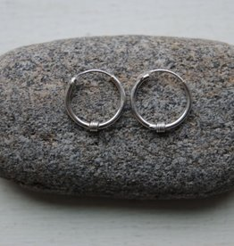 Sterling Silver Hoops W/ Decoration - 1.25cm