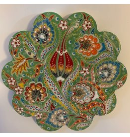 Hand Painted Relief Ceramic Trivet, Green