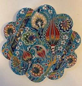 Hand Painted Relief Ceramic Trivet, Blue