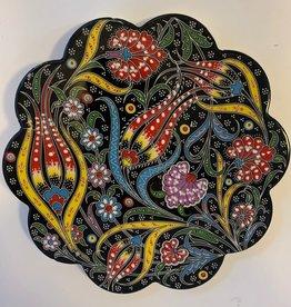 Hand Painted Relief Ceramic Trivet, Black