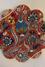 Hand Painted Relief Ceramic Trivet, Red