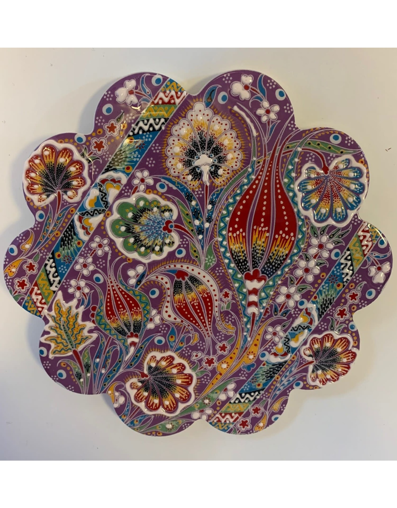 Hand Painted Relief Ceramic Trivet, Purple
