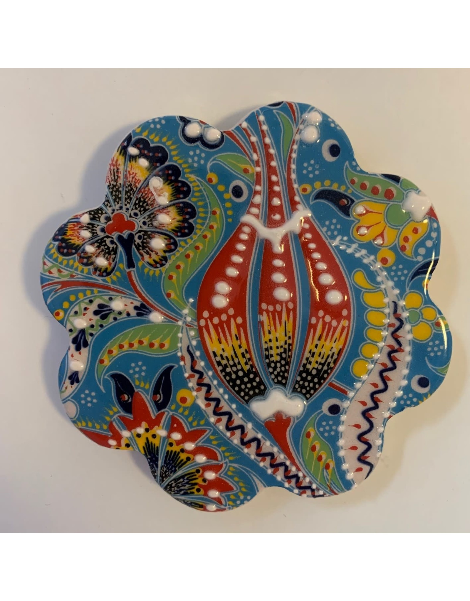 Hand Painted Relief Ceramic Coaster, Blue