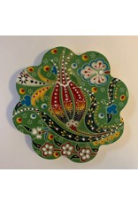 Hand Painted Relief Ceramic Coaster, Green