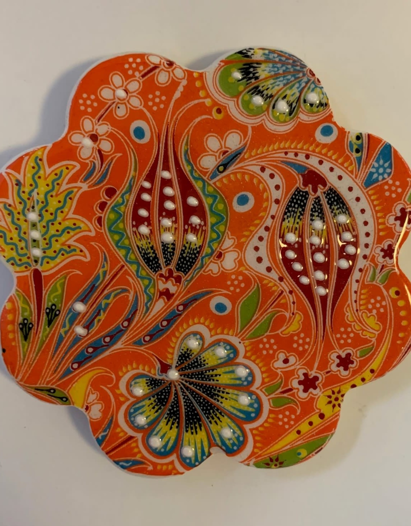 Hand Painted Relief Ceramic Coaster, Orange