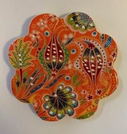 Hand Painted Relief Ceramic Coaster, Orange
