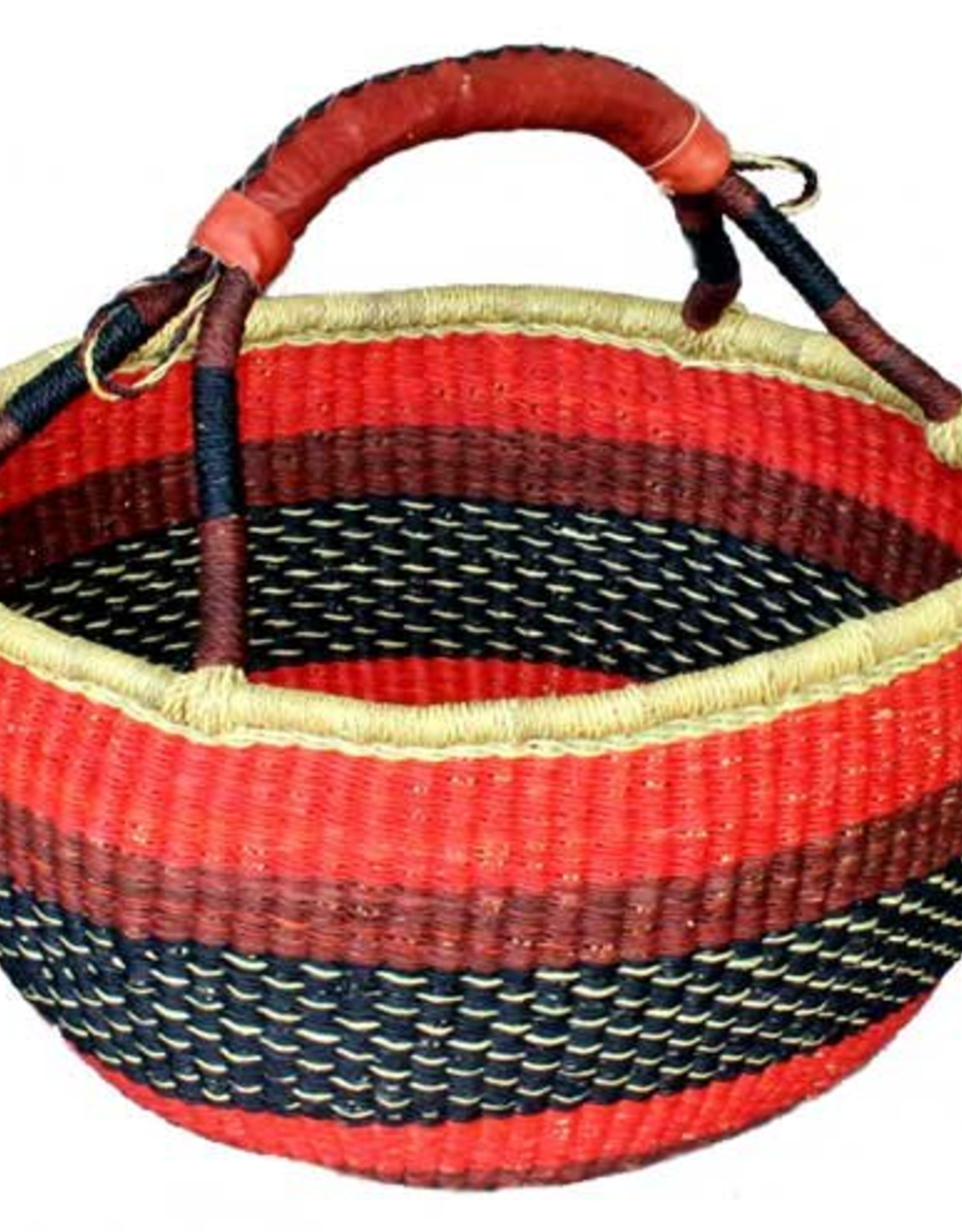 Woven Grass Mini Round Basket w/ Leather Handle, Ghana