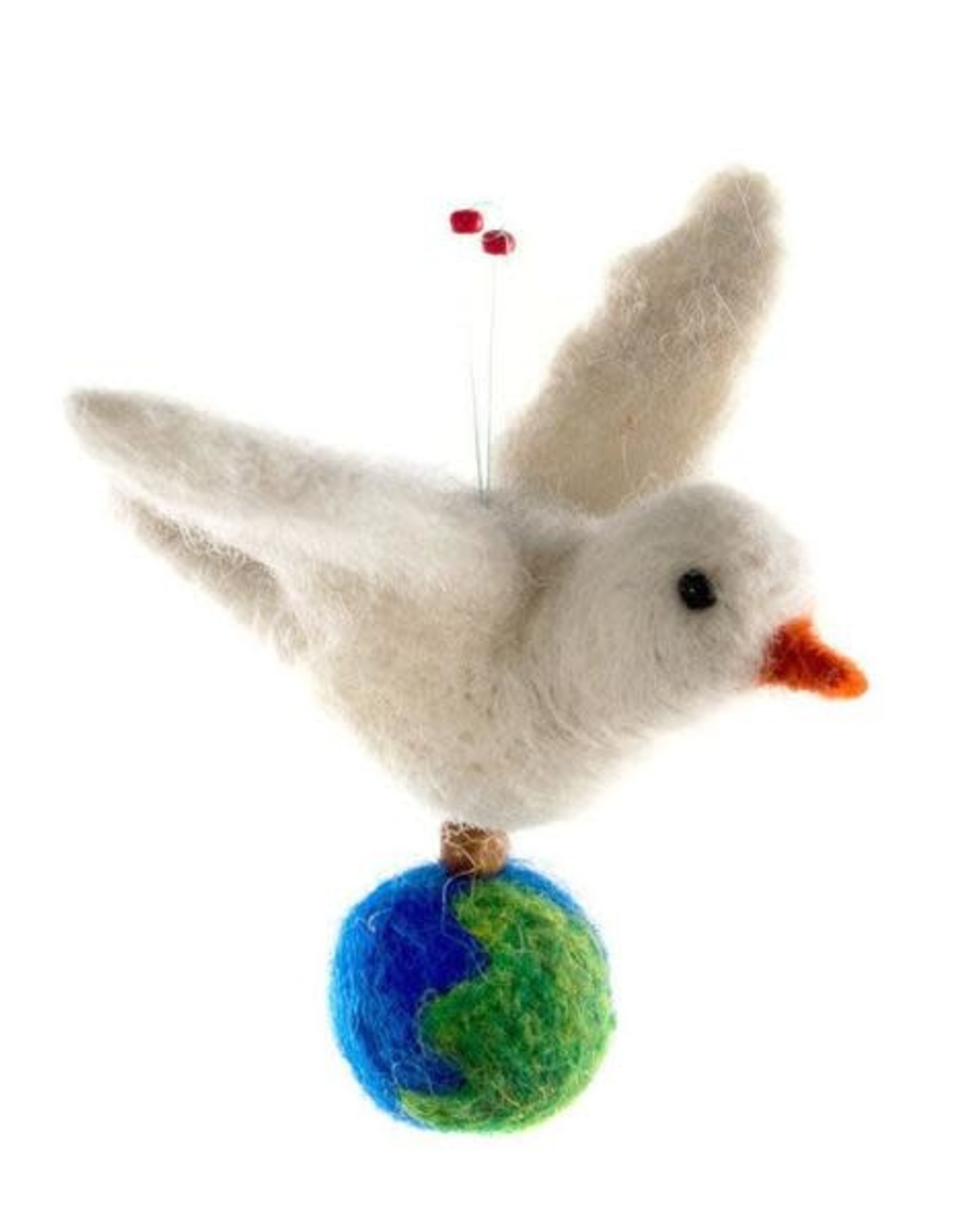 Wool Peace Dove Ornament with Globe, Guatemala