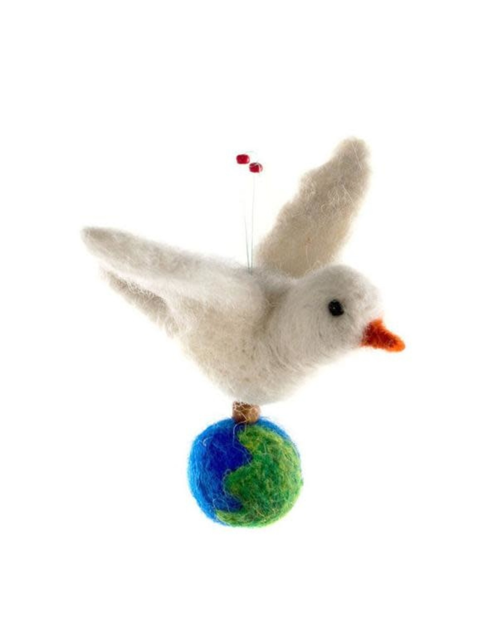 Wool Peace Dove Ornament with Globe, Guatemala