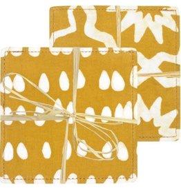 Ghana, Batik Coasters Mustard