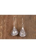Karen Silver Flower/Funnel Earrings