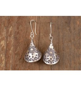 Karen Silver Flower/Funnel Earrings