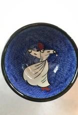 "3"" Hand Painted Dervish Ceramic  Bowl , Royal Blue"