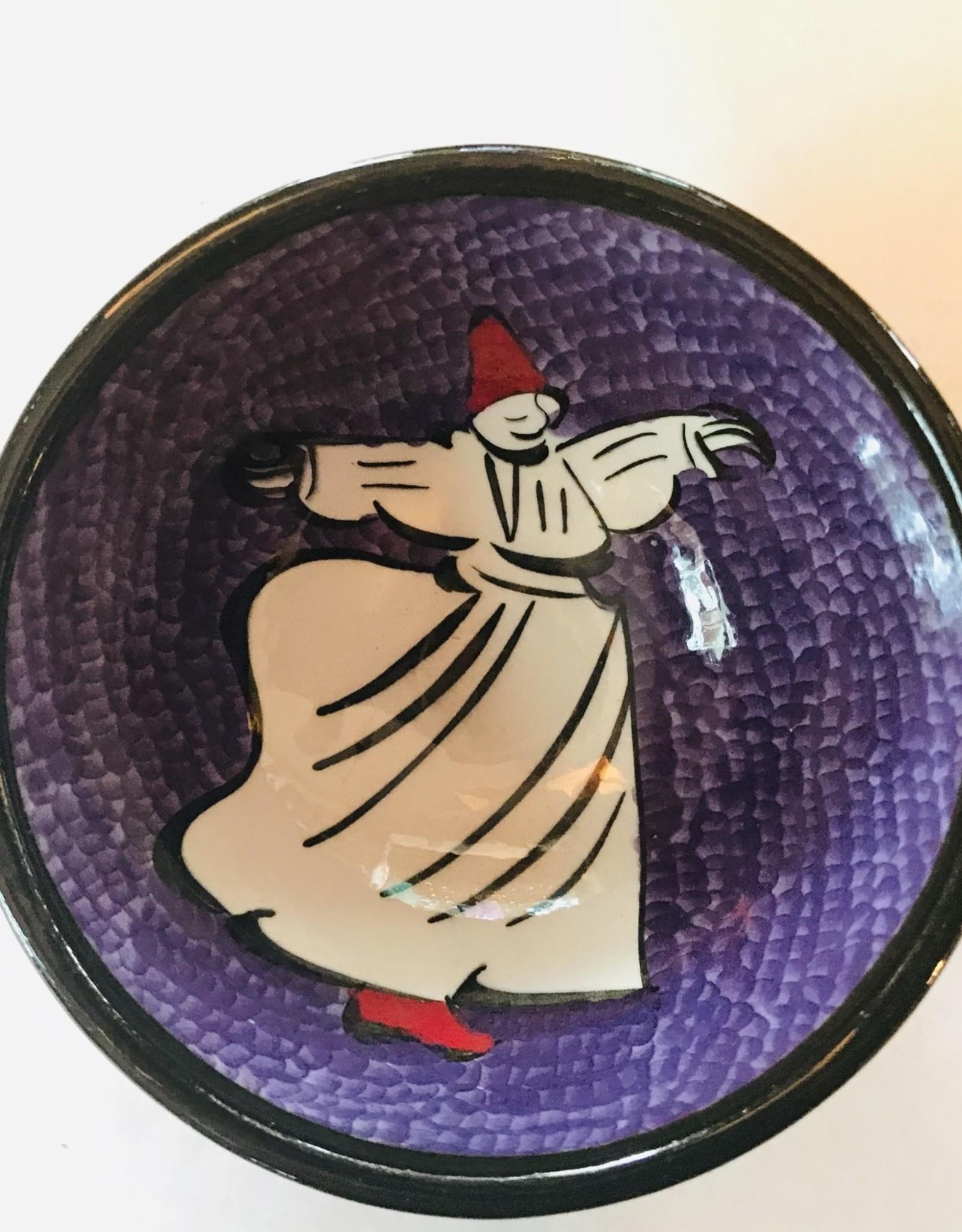 "3"" Hand Painted Dervish Ceramic Bowl , Purple"