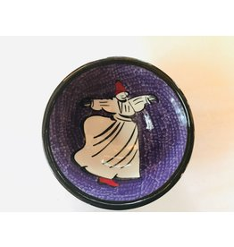 "3"" Hand Painted Dervish Ceramic Bowl , Purple"