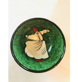 "3"" Hand Painted Dervish Ceramic Bowl, Green"