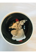 "3"" Hand Painted Dervish Ceramic  Bowl , Black"