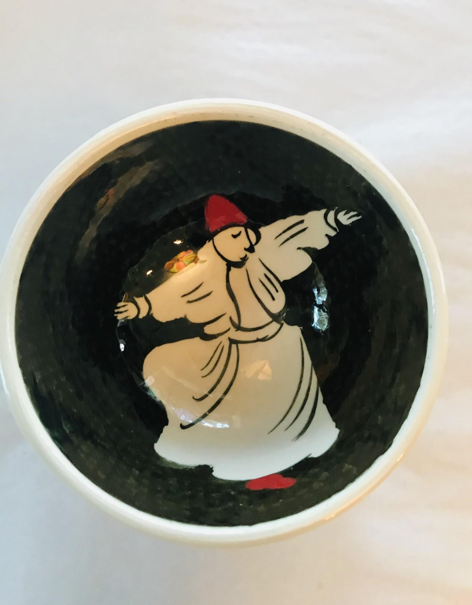 "3"" Hand Painted Dervish Ceramic  Bowl , Black"