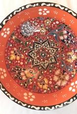 """5"""" Handpainted Relief Ceramic Bowl, Orange Tones"""