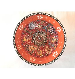 "5"" Handpainted Relief Ceramic Bowl, Orange Tones"