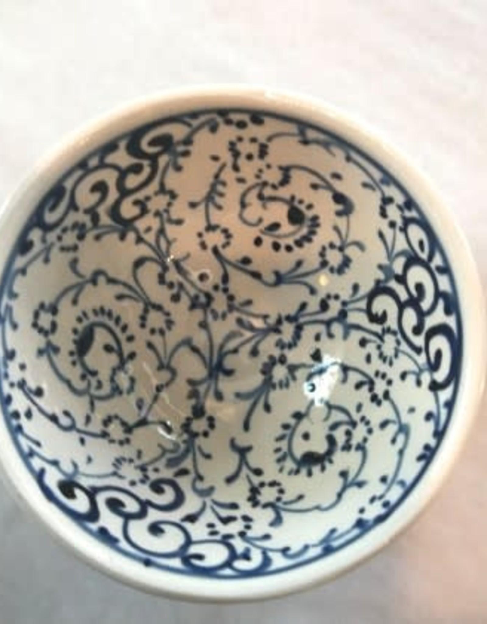 "3"" Hand Painted Iznik Bowl, Blue & White Tones"