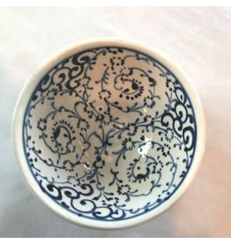 "3"" Hand Painted Iznik Bowl, Blue & White Tones"