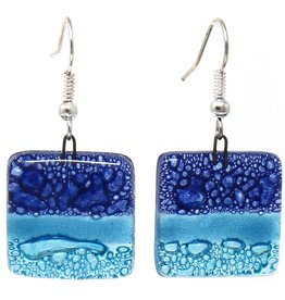 Square Glass Dangle Earrings , Shades of Blue