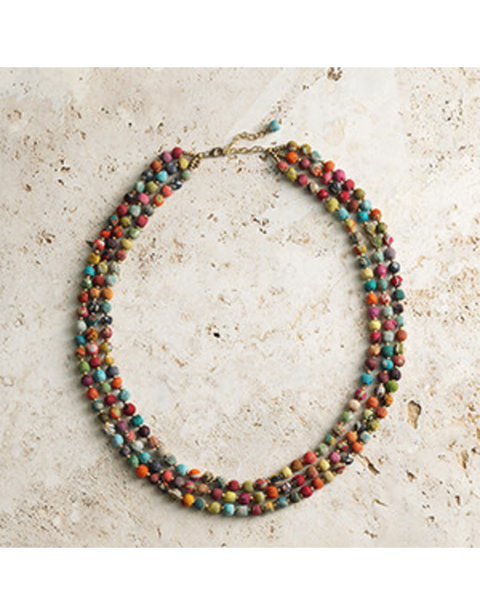 Triple Strand Sari Necklace